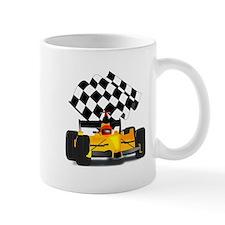 Yellow Race Car with Checkered Flag Mug