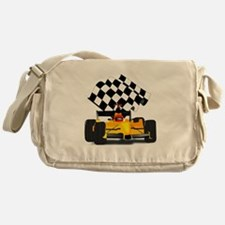 Yellow Race Car with Checkered Flag Messenger Bag