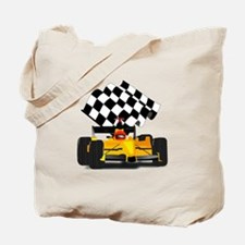 Yellow Race Car with Checkered Flag Tote Bag