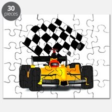 Yellow Race Car with Checkered Flag Puzzle