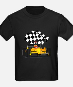 Yellow Race Car with Checkered Flag T