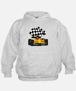 Yellow Race Car with Checkered Flag Hoodie