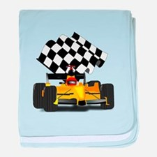 Yellow Race Car with Checkered Flag baby blanket