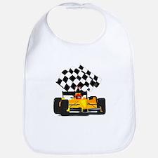 Yellow Race Car with Checkered Flag Bib