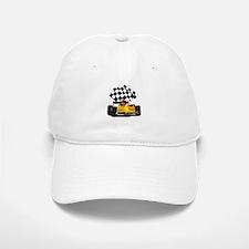 Yellow Race Car with Checkered Flag Baseball Baseball Cap
