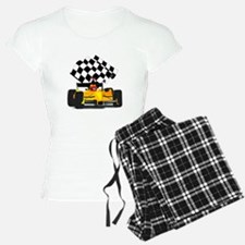 Yellow Race Car with Checkered Flag Pajamas