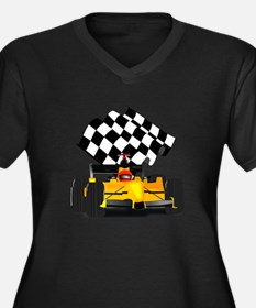 Yellow Race Car with Checkered Flag Women's Plus S