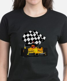 Yellow Race Car with Checkered Flag Tee