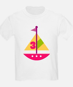3rd Birthday Pink Sailboat T-Shirt