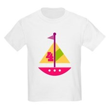 4th Birthday Pink Sailboat T-Shirt