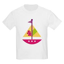 4th Birthday Pink Sailboat T-Shirt
