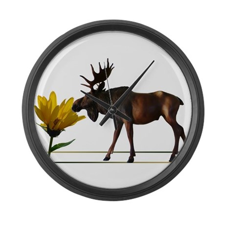 Flower Sniffin Moose Large Wall Clock