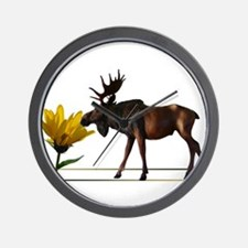 Flower Sniffin Moose Wall Clock