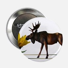 "Flower Sniffin Moose 2.25"" Button"