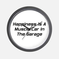 Happiness Is A Muscle Car In The Garage Wall Clock
