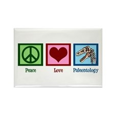 Peace Love Paleontology Rectangle Magnet
