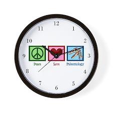 Peace Love Paleontology Wall Clock
