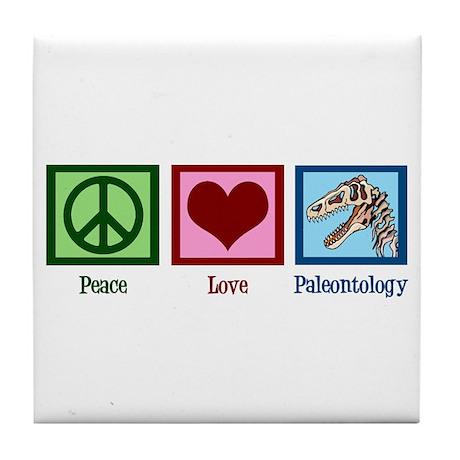 Peace Love Paleontology Tile Coaster