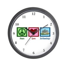Peace Love Archaeology Wall Clock