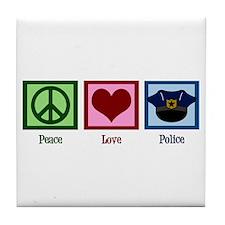 Peace Love Police Tile Coaster