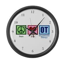 Peace Love OT Large Wall Clock