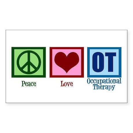 Peace Love OT Sticker (Rectangle)