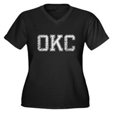 OKC, Vintage, Women's Plus Size V-Neck Dark T-Shir