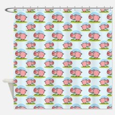 Greedy Pig Shower Curtain