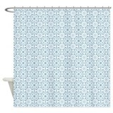Cornflower blue stripes Shower Curtains