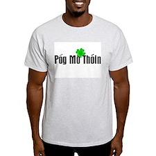 Pog Mo Thoin Text Ash Grey T-Shirt