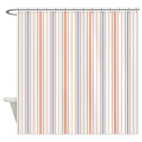 Amara Stripe Salmon Shower Curtain By Floatinglemons