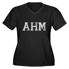 AHM, Vintage, Women's Plus Size V-Neck Dark T-Shir