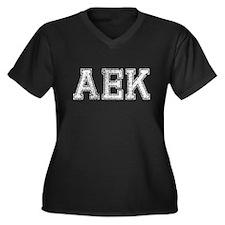 AEK, Vintage, Women's Plus Size V-Neck Dark T-Shir