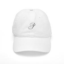 P Initial Black and White Sript Baseball Baseball Cap