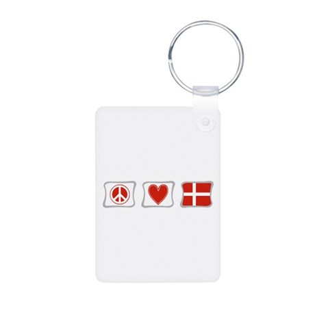 Peace, Love and Denmark Aluminum Photo Keychain