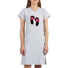 Pink Hibiscus Flip Flops.png Women's Nightshirt