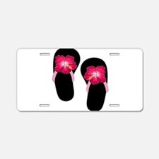 Pink Hibiscus Flip Flops.png Aluminum License Plat