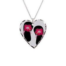 Pink Hibiscus Flip Flops.png Necklace