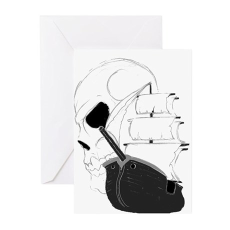 Skull Pirate Ship.png Greeting Cards (Pk of 10)