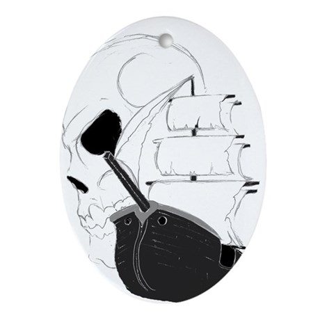 Skull Pirate Ship.png Ornament (Oval)