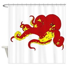 Red Octopus .png Shower Curtain