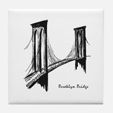 Brooklyn Bridge (Sketch) Tile Coaster
