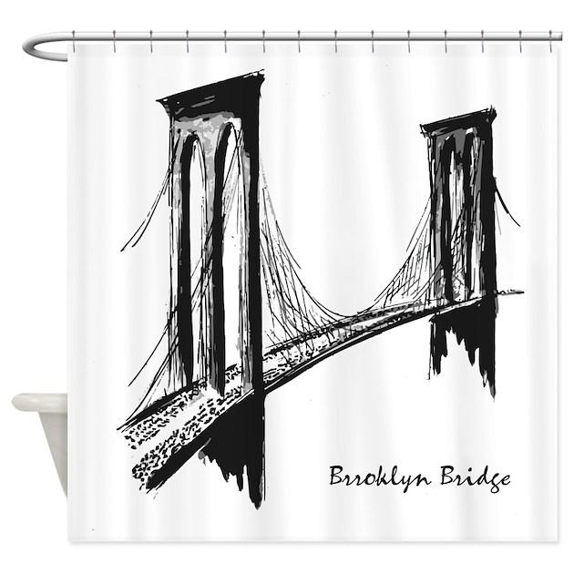 Kitchen Art America Brooklyn Ny: Brooklyn Bridge (Sketch) Shower Curtain By America_tshirts