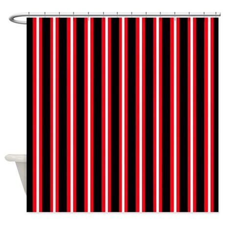 Black Red White Shower Curtain By Printedlittletreasures
