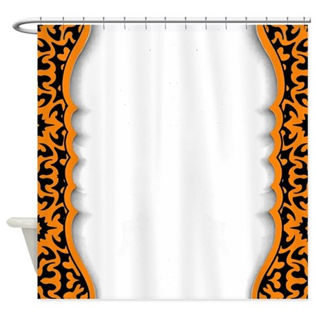 Black And Orange Shower Curtain By PrintedLittleTreasures