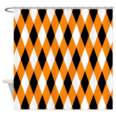 Black Orange White Diamonds Shower Curtain By