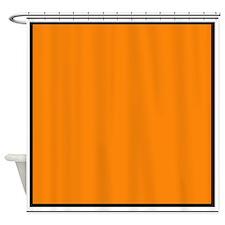 Black White Orange Border.jpg Shower Curtain