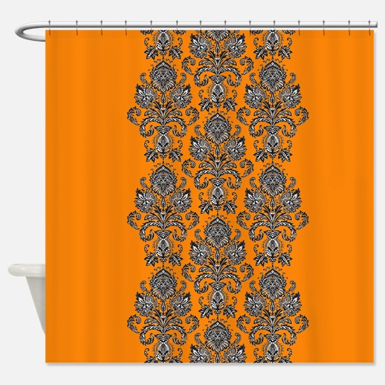 Orange Black Damask jpg Shower Curtain Stripe Curtains  CafePress