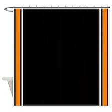 Orange Black White Side Stripes.jpg Shower Curtain