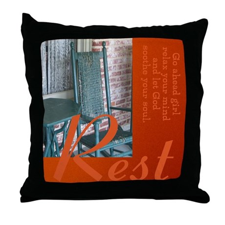 Rest and Let God Throw Pillow